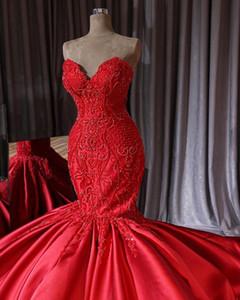 2019 Nova Chegada Vermelho Querida Sereia Vestidos de Casamento Vestido De Noiva Applique Lace Frisado Longo Trem de Festa de Casamento Vestido Formal PromDress