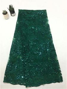 Nigerianisches Spitze-Pailletten-Grün-afrikanisches Spitze-Gewebe in den Pailletten materielles Glitter-afrikanisches Gewebe-freies Verschiffen 5yard / lot Pa ...