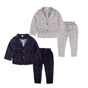 Einzelhandel Marke Kinder Kleidung Set England-Kind-Kleidung Gentleman Boy Party / Hochzeitsanzüge Baby Formal Plaid langärmelige SetsRetail Marke