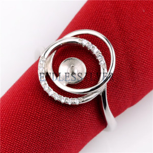 Configurações do anel Em Branco Base de Zircão Cercado 925 Sterling Silver DIY Apreciação Jóias Pérola de Montagem para a Festa de Pérola