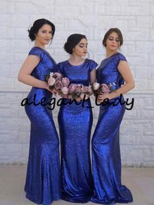Lantejoulas bling mangas compridas vestidos de dama de honra 2019 azul royal Vestidos de baile de finalistas maid of honor vestidos vestidos de noite formal vestidos de festa