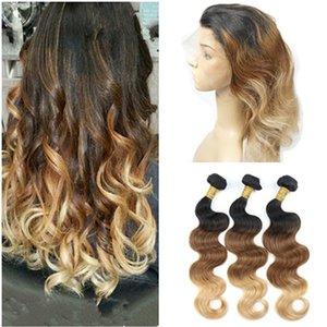 Tres tonos 1B / 4/27 Ombre 360 banda frontal de encaje con 3Bundles Body Wave Virgen brasileña cabello humano teje con 360 Lace closure