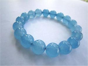 Bracciale con acquamarina naturale brasiliana a forma di cuore cristallo blu con acquamarina a cerchio singolo, gioielli moda paio