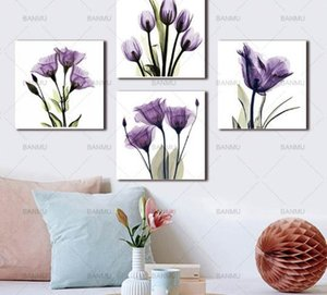 BANMU Wall Art Image Toile Peinture print Élégante Tulipe Fleur Pourpre Toile Wall Art Peinture Pour Salon Pas de cadre