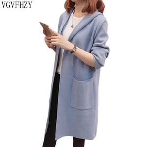 2018 여자의 가을 겨울 두건이 된 카디 건 스웨터 긴 섹션 양모 스웨터 패션 느슨한 두꺼운 따뜻한 니트 카디 건 LY1183