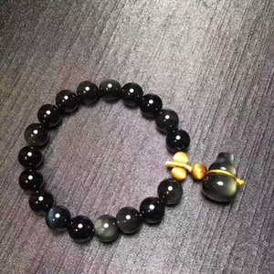 Wholesale Rainbow Eye Natural Obsidian Bracelet Bead With Gourd Pendant Lucky for Women Men Yoga Energy Crystal Jewelry