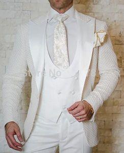 Modische One Button Hochzeit Bräutigam Smoking Peak Revers Groomsmen Mens Dinner Prom Anzüge (Jacke + Hose + Weste + Krawatte) NO: 1497
