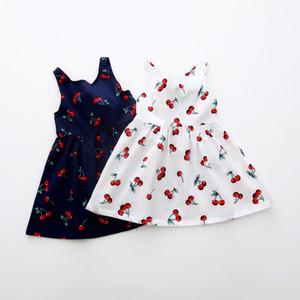 Robe pour Fille 2018 Bow Décor cerise coton été robe de princesse gilet à fleurs Robes pour filles Vêtements pour enfants Vestidos