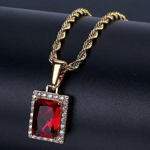 Mens grand laboratoire Ruby Rectangle GEM Bling Bling Pendentif Genine Rouge Simulé Ruby Bijoux 18K Or Plaqué Collier Plaqué avec boîte-cadeau