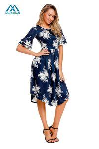 2018 Summer Women Dresses Cute Navy Floral Print Layered Campana a maniche lunghe al ginocchio O-Neck Dress donna