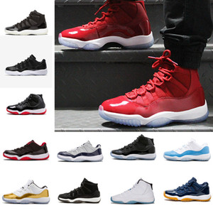Baskets de gros pas cher XI 11 LOW Bred Basketball Chaussures Noir Rouge Chaussures de Sport 11s Concorde Basketball Hommes Athlétisme taille 5.5-13