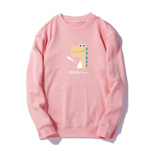 2018 Fashion Style Man 's Sweatshirt Summer Print Cute 공룡 대 한 라운드 넥 긴 Sleeve 커플 Sweatshirt 긴 Sleeve
