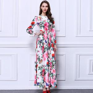 Lady Milan Nueva llegada 2018 O cuello de manga larga de las mujeres rosas impresas con pliegues de la cintura elegantes vestidos largos de la pista
