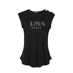 Frauen T-shirts Marke Kleidung Mode Strass Gedruckt T-shirt Weibliche Top Qualität Sommer Kurzen T-shirt für Frauen