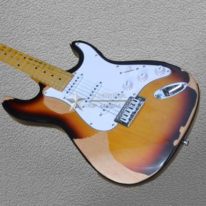 Klassische ST E-Gitarre Retro Reliquie ST Bild echte Aufnahme 100% Handarbeit Erle Körper Angebot Customized Werbeaktivitäten