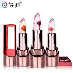 HengFang Marca Flor de Oro Lápiz Labial 3 Sabores de Frutas Temperatura cambiada Bálsamo Labial Hidratante Labios 3.5g Maquillaje DHL H9302