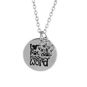 toptan 12pcs / lot aşk dört ayak olduğunu kelime kazınmış kolye kolye evcil köpek pawprint çekicilik kolye kurtarma köpek sevgilisi hediye onu takı