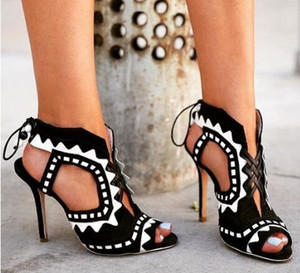 2018 Hot Sale White And Black Lace-Up Women Pumps Cut-Outs Peep Toe High Heels Sandals Fashion Mixed Colors Summer Ankle Boots
