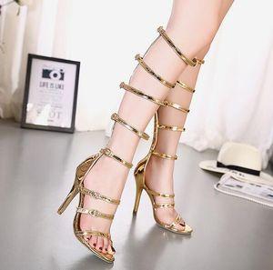 новые сексуальные женские туфли золотые серебряные крестовые ремни на высоком каблуке колено роскошные дизайнерские гладиаторские сандалии sandalia gladiadora