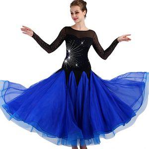Ballroom Competition Dance Dresses Women 2018 New Design Elegante Flamenco Dancing Skirt Royal Blue Standard Ballroom Dress