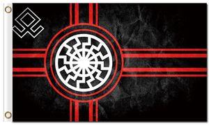 Impression numérique personnalisée 3x5ft Drapeau du Soleil Noir 90x150cm Polyester Kolovrat Symbole Slave Roue du Soleil Svarog Solstice Runes Bannière