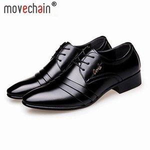 Movechain Yeni Moda erkek Dantel-Up Deri Iş Ofis Derby Ayakkabı Adam Düğün Elbise Flats Erkek Casual Sürüş Oxfords