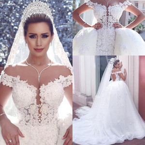 2019 Arabic Lace Ball Gown Wedding Dresses With Detachable Skirt Off Shoulder Appliques Court Train Bridal Gowns Plus Size vestido de novia