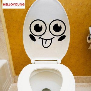 Мультфильм Smiley Туалет Lid наклейки Всего матч Стиль Art Mural Водонепроницаемый Для туалета Home Decor Backdrop Removable