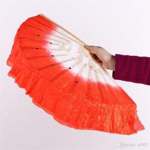 Fan del baile Dos lentejuelas prácticas hechas a mano Fans de seda Square Dance Women Favors Colorido Easy Carry 3 80zb cc
