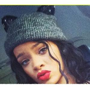 Sonbahar Kış Rihanna Kedi Kulaklar Örme Şapka Tatlım Elmas Dantel Kedi Kulaklar Yün Caps Yaratıcı Tasarım kadın Örme Caps Kış Şapka
