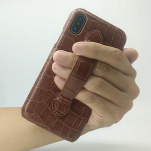Venta al por mayor de cuero genuino HAND HOLDER STRAP Case para iPhone XR 6.1 teléfono celular de lujo de cocodrilo ultra delgado delgado casos de cubierta dura