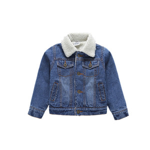 أطفال الدينيم الستر للبنين الأطفال الشتاء الدافئ قميص الدنيم معاطف ملابس الطفل كاوبوي الملابس الكشمير الستر JSB1006