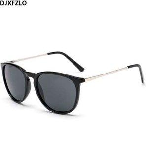 DJXFZLO Retro Hombres Gafas de Sol Redondas Mujeres Hombres Diseñador de la Marca Gafas de Sol para Mujer Gafas de Sol de Espejo de Aleación Oculos De Sol