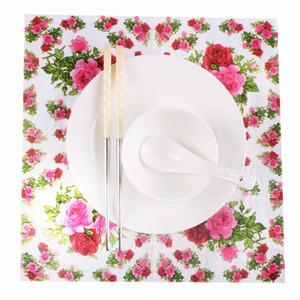 20pcs 꽃 장미 테이블 냅킨 종이 조직 인쇄 Servilletas Decoupage 빈티지 그린 핑크 결혼식 생일 파티 장식