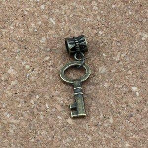 100 unids / lote Cuelgan Bronce Antiguo Pequeñas llaves Charms Big Hole Beads Fit Charm colgante collar DIY Joyería 11.5x34.2mm A-323a