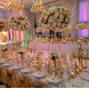 New 80 cm ouro Alto Flower Stand Suporte da vela da tabela do casamento Estrada Evento Peça central Chumbo Flor da cremalheira 10 unidades / lote