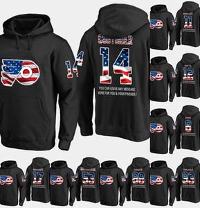 Mens Philadelphia Flyers USA Flag Hoodie 28 Claude Giroux 14 Sean Couturier 10 Corban Knight Hockey Sweatershirt Jersey Black