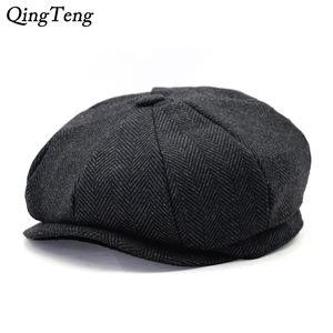 Octagon Herringbone Newsboy Cap Vintage Men Cotton Beret Casual Newsboy Hats Cabbie Cap For Women Flat Hat Dropshipping