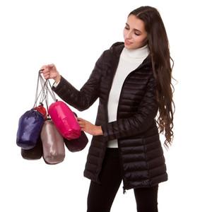 [Aiweier] Chaquetas ultraligeras para mujer Chaqueta con capucha con cremallera Chaquetas largas de nylon Pato blanco abajo Abrigos de invierno para niñas Parkas Prenda de vestir