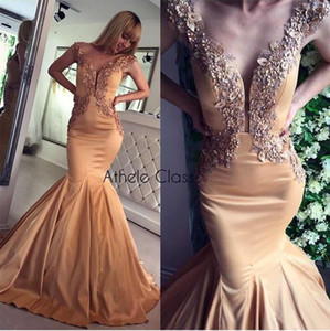 V Neck Mermaid Hand Made Flower Pearls Gold Elegant Sexy Evening Dresses Evening Gown Prom Dress