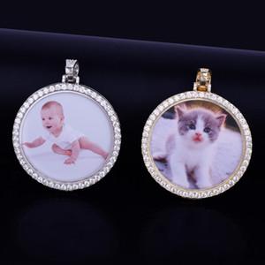Сшитое фото медальоны ожерелье с Rope Chain Золото Серебро Цвет Кубический циркон Мужская хип-хоп ювелирных изделий