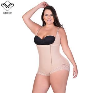 Wechery Body Shaper Bodysuit Mulheres Zíperes Alças Cintas Ajustáveis Cintura Aberta Busto Corset Seamless Firm Control Shapewear