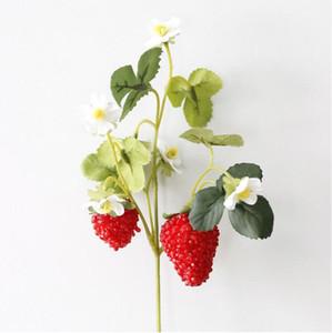 Искусственный цветок клубники шелковицы с двумя большими фруктами украшения был использован для имитации фруктов вручную DIY материалы около 26 см BP056
