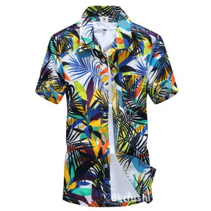 뉴 여름 망토 반소매 해변 하와이안 셔츠 코튼 캐쥬얼 플로럴 셔츠 남성 의류 패션