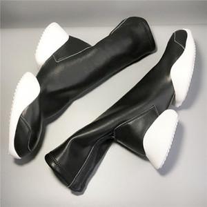 Botas novas dos homens ferradura fundo grosso aumentou a elasticidade knight botas meia tendência dos casais personalidade unisex genuína bota de couro