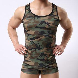 Sexy Men Tank Tops Chaleco de camuflaje Spandex Fitness Singlets Camisas Hombres musculación culturismo sin mangas Tank Tops Camo ropa interior