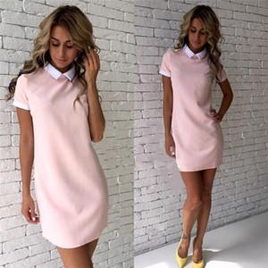 Frauen-Kleider 2020 Art und Weise Frauen Drehen-unten Kragen-beiläufiges Kleid-elegante Kurzärmlig Sommer Minikleid Vestido