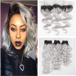 Ombre Gray Bundles with Frontal Found Dos tonos de color gris Bundles El cabello humano brasileño teje con 13X4 Lace Frontal Wet and Wavy Virgin Hair