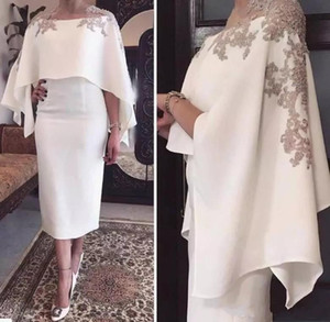 2018 Sheath Mother Of The Bride Dresses Jewel Neck Gray Lace Appliques Beaded With Wrap Short Tea Length Party Evening Wedding Guest Gowns