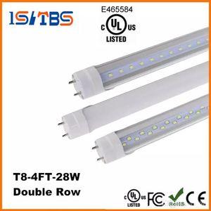 Tubo LED T8 di alta qualità 4FT 22W 28W SMD2835 192LEDS Lampadina 4 piedi 1.2m Doppia fila 85-265 V stock negli Stati Uniti
